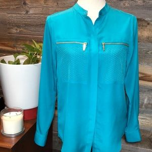 Michael Kors Turquoise Blouse w/ gold studs (PS)